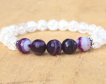 Bracelet for Women Amethyst Bracelet 8mm Natural Stone Excellent Choice for Girl Incredibly Beautiful Purple Gift for Girlfriend and Wife