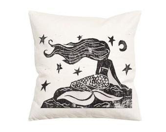 Vintage Style Mermaid- Throw Pillow- Decorative Pillow-Throw Pillow Cover