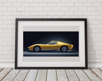 LARGE PRINT Lamborghini Miura / Lambo / Gold Lamborghini / Sports Car Art / Man Cave Art / Super Car Art / Top Gear