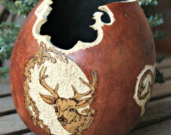 Handmade Decorative Gourd Art//Hand Carved//Woodland Cabin Decor//Mountain Home//Bowl//Art and Collectables//Deer Prince