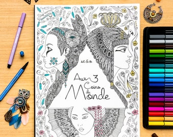 Livre de coloriage pour adulte et enfant - Aux 3 coins du monde