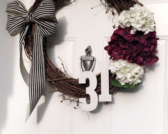 Handcrafted Wood Welcome Front Door Sign and Wreath