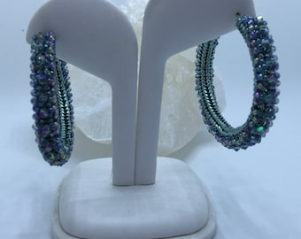 Gorgeous 1 1/2 inch Teal Hand Beaded Hoops with Swarovski Crystals