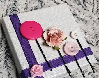 Pink Button and Rose Bobby Pins, Set of 4