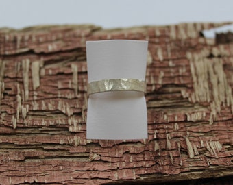 Hammered Silver ring 4mm wide, 1mm thick    Size S