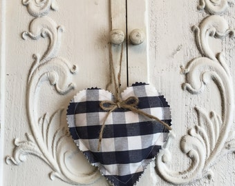 Fabric hanging heart - navy check