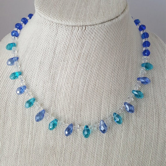 Ladies blue and green crystal necklace