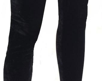 Women's Black Velvet Stretch Leggings