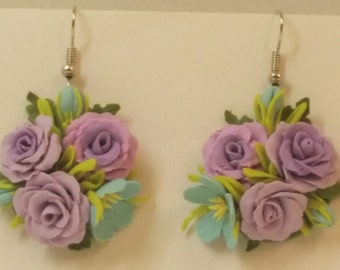 Purple Flower Cluster Earrings