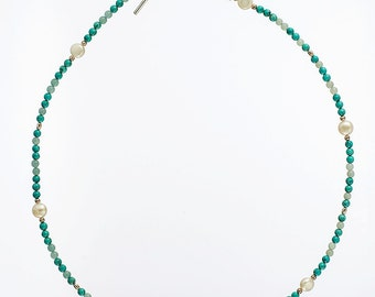 Turquoise, pearl and silver necklace N109