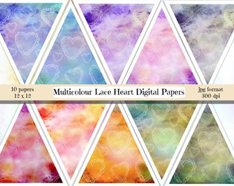 Heart Digital Paper, Lace Heart Paper, Valentines Digital Paper Romance Scrapbooking, Multicolor paper, Rainbow heart paper, commercial
