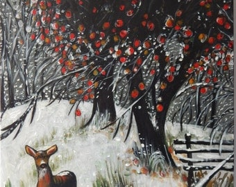Acrylic / Oil Painting 'Winter Doe' 46CMx61CM Deer Snow Inspired