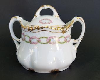 Vintage Bauer & Pfeiffer Wurttemberg Sugar Bowl~German Porcelain~Gold Gilt~1904-1934~Linked Pink Flowers~Green Leaves