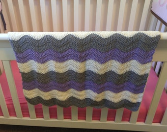 Purple and Grey Crochet Chevron Baby Blanket