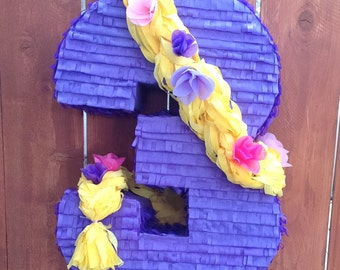 Number 3 Rapunzel Themed Piñata, Rapunzel Piñata, Tangled Piñata