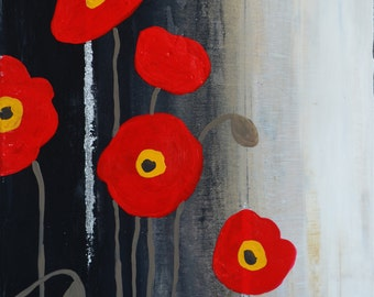 5 Red Poppies
