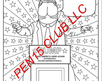 trumped up dick printable trump adult coloring book page - Penis Coloring Book