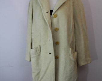 Vintage wool coat / size L / Wool and mohair coat / Cream jacket / size L
