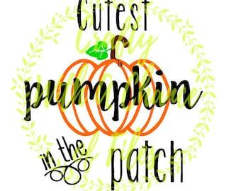 Cutest Pumpkin In The Patch SVG Halloween SVG Autumn SVG Thanksgiving Svg Baby Svg Pumpkin Svg Pumpkin Patch Svg Digital Vector Png Dxf Jpg