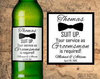 CUSTOM Groomsman Beer Bottle Labels, Suit Up Beer, Wedding Beer Labels, PERSONALIZED Groomsman Beer Label, Will you be my Groomsman?