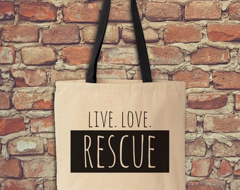 Dog Rescue Tote, Live Love Rescue, Canvas Tote, Dog Tote