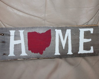 Rustic wood HOME Sign for OHIO natives