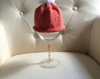 Salmon and White Knit Baby Hat