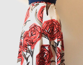 1950's Grease style floral swing skirt