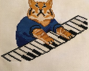 Piano Cat - Cross Stitched Picture