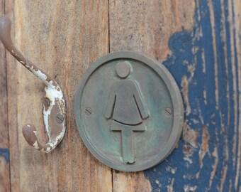 WOMENS Toilet Door Sign. Female, Ladies Toilet, Bathroom, Powder Room Sign. Bronze Resin door plaque. Small or large, Round. New, Hand Made