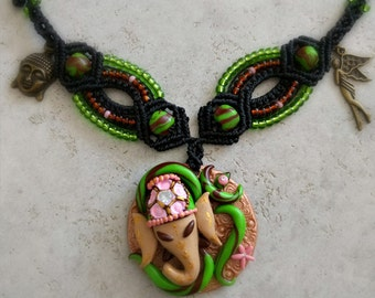 Ganesha, OM necklace, Goa, psy trance, hippie, jewellery, macrame necklace