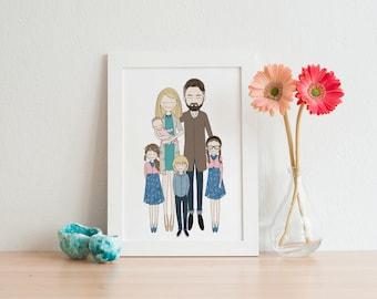 printable wall art, custom portrait, custom family portrait, personalized portrait, personalized family portrait, customized gift for men