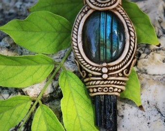 Labradorite and black turmaline