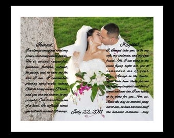 Unique wedding vows art prints, personalized wedding gifts for couple, wedding vow anniversary gift, him her song lyrics, custom vow artwork