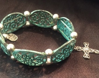 Brushed Turquoise and Silver Bracelet with dangle cross