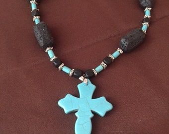 Turquoise Cross and Black Necklace