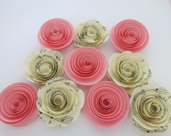 """s Sheet music roses & pink paper flower set of 10, Baby shower decorations, girl nursery decor, Musical party theme, 1.5"""" blossoms, bff gift"""