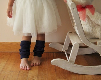 Toddler Leg Warmers   Baby Leg Warmers   Slouchy Leg Warmers   Navy Blue   Sweater Fabric
