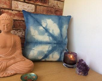 Shibori indigo dye cushion.