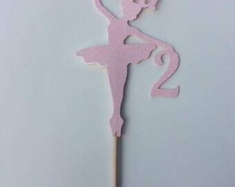 Personalised glitter ballerina cake topper