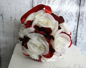 Red rose pomander Wedding flower ball Flower girl kissing ball Wedding decorations