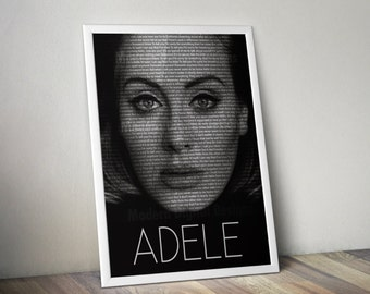 Adele Poster Music Song Lyric Typography  Word Art 5x7 8x10 12x16 18 x 24