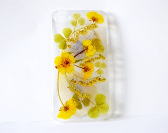 pressed flower iphone case iphone 4 case iphone 4s case iphone 4G case pressed flowers case real flower case clear case floral phone cases