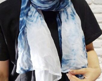Handmade Shibori Tie Dye Scarf - Made in Thailand [URBAN INDIGO]
