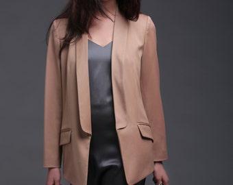 Womens blazer, Office blazer, Tuxedo womens jacket, shawl collar jacket, beige, elegant