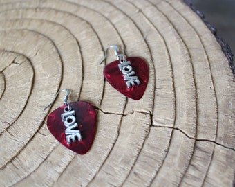 Guitar Pick Jewelry - Earrings - Love Charms - Music