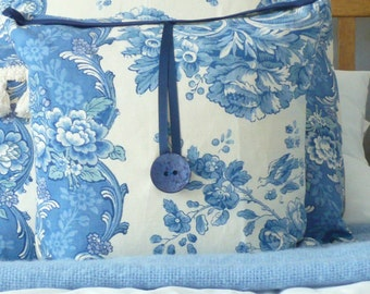 Little Blue and White Floral and Birds with Navy button detail