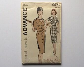 FF 1960s B38 Shirt Dress Sewing Pattern : Advance 9571