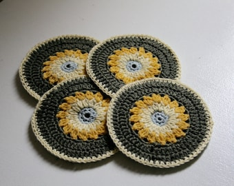 Set 4 sunflower coasters