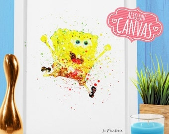 Sponge Bob Wall Art Canvas, Spongebob Art Prints Wall Decor, Watercolor Art Canvas Print Poster, Kids Room Nursery Decor Girl Kids Gift